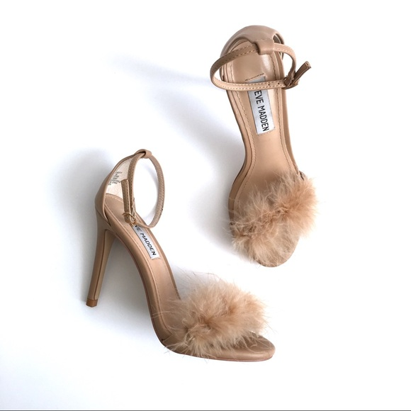 "7f9e2a3cc4c STEVE MADDEN ""Scarlett"" Nude Feather Heels. M 5a7f96618af1c5904a1a19d6"